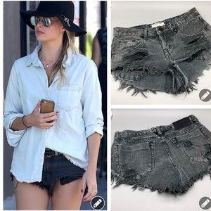 One Teaspoon black bandits shredded denim shorts